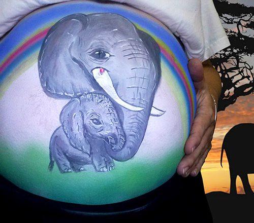 Babybauch Bemalung Elefant