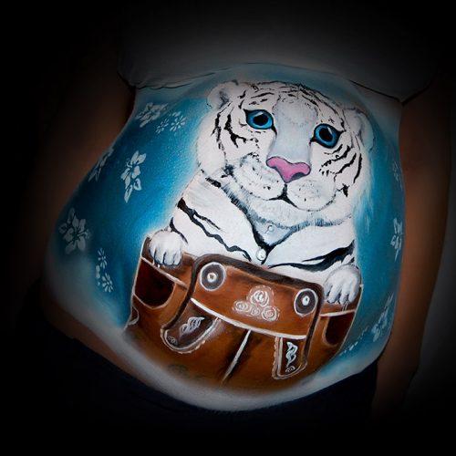 Babybauch Bemalung weißer Tiger